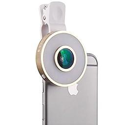 Cyxus [3 Adjustable Brightness] Selfie Fill LED Light (Clip-on) Night Portable Mini Spot Flash Round Spotlight for Any Cell Phone (Apple iPhone 6s/6 Plus) (Gold)