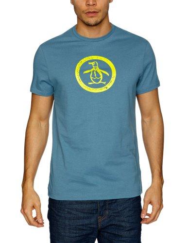 Original Penguin Distressed Logo Men's T-Shirt Aegean Blue Large