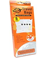 TRAVEL LOG - 8 Pack Cosmetic & Liquids Travel Bags - Clear View