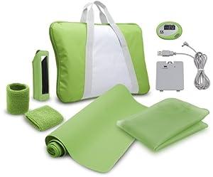 Pack : revêtement silicone + batterie kit + sac de transport matelassé+ 2 protège-poignets + étui rangement Wii Remote + tapis de sol Wii Balance Board + podométre