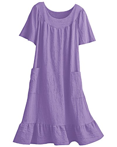 National Crinkle Cotton Dress, Lilac, X-Large