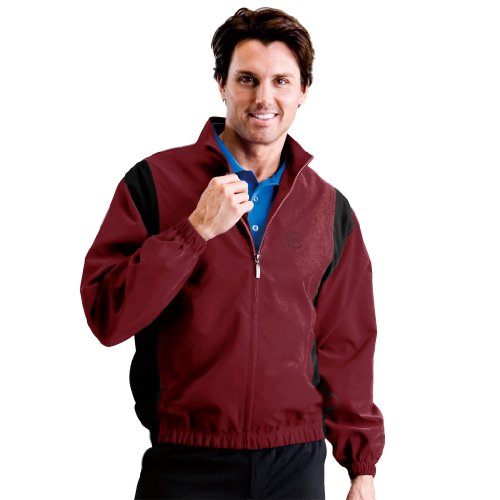 Monterey Club Mens Microfiber Peach Twill Contrast Inset Zip up Jacket #1788 (Caledonia Red/Black, 2X-Large)