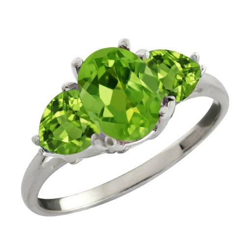 2.11 Ct Genuine Oval Green Peridot Gemstone Sterling Silver Ring