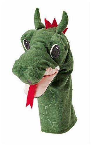 Ikea Fantasivarld Hand Play Glove Puppet Dragon Dinosaur Green Childrens Soft Toy - 1