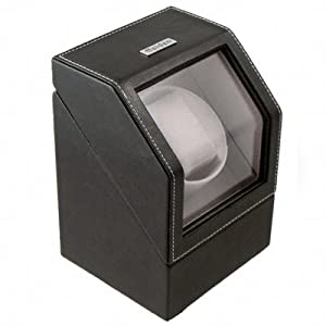 Heiden Battery Powered Single Watch Winder in Black Leather