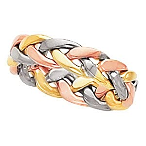 IceCarats Designer Jewelry 14K Yellow White Rose Gold Size 5 Hand-Woven Tri-Color Band