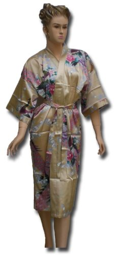 Satin Kimono UNI Bademantel S-XL JAPAN Blumen GOLD