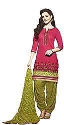 Leranath Fashion House Womens Pure Chanderi Material Pink, Green Dress (LE4-270SUN-2)