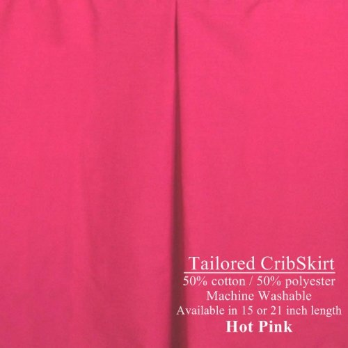 Hot Pink Crib Skirt Dust Ruffle Tailored 15 inch drop length
