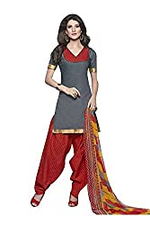 Rudra Textile Women's Gray Cotton Punjabi Suit