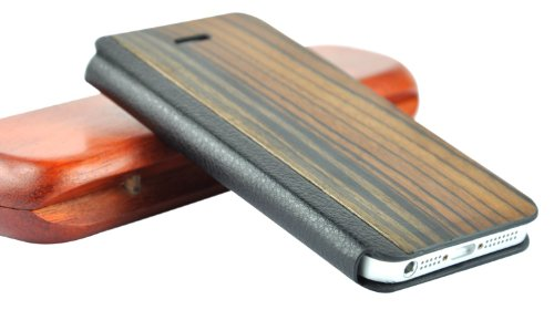 SunSmart Premium Quality wood leather stand case cover for the Apple iPhone 5/5S/5C - Dark Brown