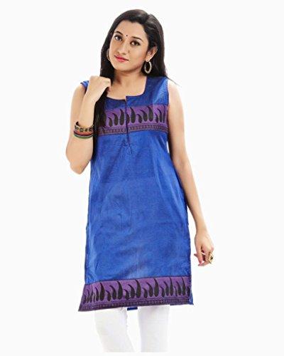HiFi Women's Ethnic Style Sleeveless Silk Kurtis