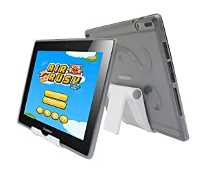 iShoppingdeals - Smoke TPU Rubber Skin Cover Case and Multi-Angle View Stand Holder for Lenovo IdeaTab S6000 10.1-INCH at Electronic-Readers.com