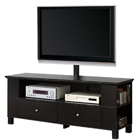 60-Inch Black Wood TV Stand with Storage and Mount [Kitchen] MPN: P60CMPBL-MT