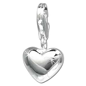 SilberDream Charm Herz glanz 925 Sterling Silber Anhänger für Armband Kette Ohrring FC3144