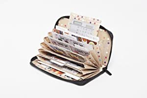 "BUXTON GENUINE ""BUXHYDE"" COUPON/RECEIPT ORGANIZER WITH 8 POCKETS AND SOLAR CALCULATOR - BROWN"