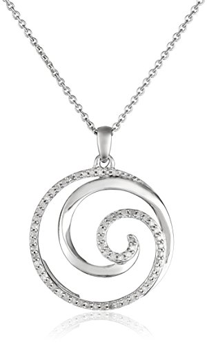 """Sterling Silver Diamond Waves Pendant Necklace (1/4 cttw),18"""""""