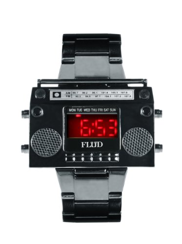 Flud Men's BBX002 Boombox Gun Metal Plated Stainless Steel Watch