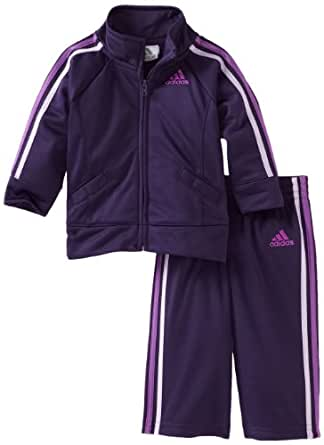 Adidas Baby-girls Infant ITG Iconic Tricot Set, Dark Violet, 9 Months