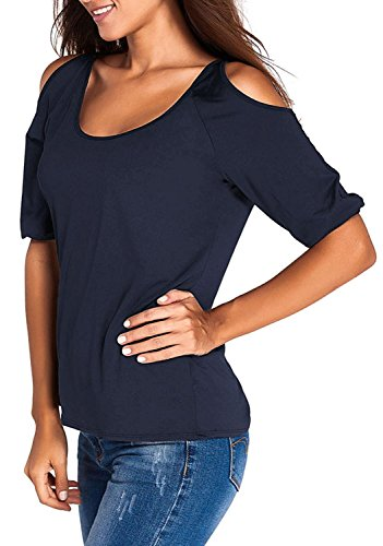 Anmengte Women Casual Cut Out Shoulder Top Fitted Blouse (M, Navy Blue)