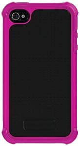 Ballistic SA0582-M965 Soft Gel Case for iPhone 4 & 4S - 1 Pack - Carrying Case - Retail Packaging - Hot Pink Silicone/Black TPU/HOT PINK PC