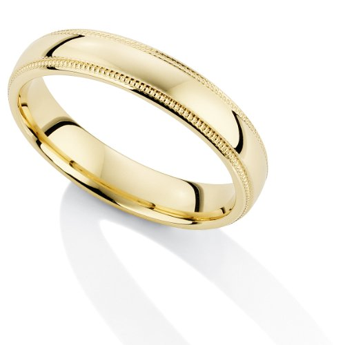 Jewelco London 9ct Yellow Gold - - 4mm Essential Court-Shaped Mill Grain Edge Band Commitment / Wedding Ring - Size P