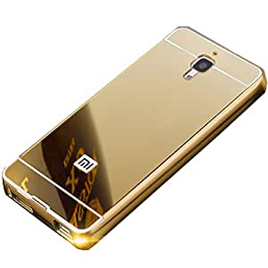 Novo Style Luxury Shiny Bling Glitter Metal Clear Aluminum Frame Cover Ultra Thin Slim Bumper Hard Back Case Cover For XiaomiMi4 - Golden