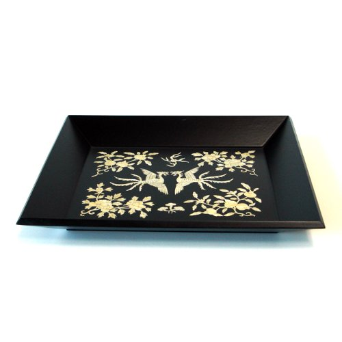Mother Of Pearl Inlay Art Lacquer Finish Phoenix Pair Design Rectangular Handmade Black Wood Snack Tea Coffee Wine Serving Platter Tray Plate
