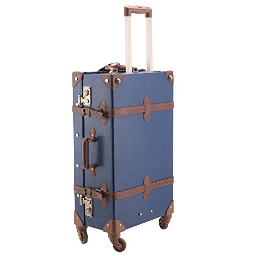 "CO-Z Premium Vintage Luggage Set 24"" TSA Locks Wheel Suitcase with 12"" Hand Bag 1"