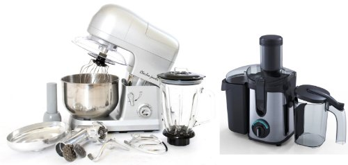 PACKAGE DEAL Kitchen Powerful 3 in 1 FOOD STAND MIXER INC Blender,Meat Grinder 5L in Silver, Most POWERFUL 1200W + Charles Jacobs 2.0L ELECTRIC Whole FRUIT JUICER in Black Compact 800W POWER, comes with BRUSH for cleaning from Charles Jacobs