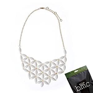 BMC Playful Vintage Acrylic Beads Bib Fashion Statement Collar Womens Party Necklace Jewelry Lot - SHELL WHITE, Starflower Collection