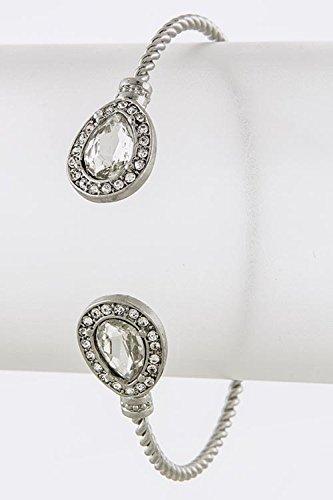 Trendy Fashion Jewelry Teardrop Faux Jewel Tip Twisted Bracelet By Fashion Destination   (Clear/Silver)