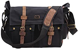 Iblue Vintage Canvas Cross Body Laptop Messenger Bag College Bookbags for Men Womens Leather#2138( black ,XL)