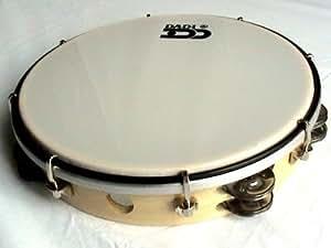 """Professional Tambourine (Tunable, Headed 10"""". Wood Finish)"""