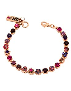 Fabulous 24K Rose Gold Plated Bracelet from 'Winter Sunset' Collection Beautifully Designed by Amaro Jewelry Studio Garnished with Flower and Fancy Ornaments, Accented with Amethyst, Garnet, Lavender, Purple Jade, Pink Abalone, Pink Agate and Swarovski Crystals