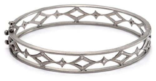 Lauren Harper Collection Mirage Rhodium Plated Black Silver Hinged Oval Diamond Bracelet