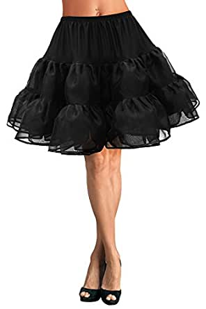 "Black Butterfly 20"" Long Vintage Satin Organza Petticoat"