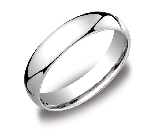Men's 14k White Gold 5mm Comfort Fit Wedding Band Ring, Size 9