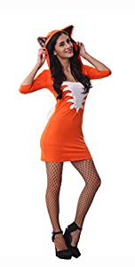 Orange Sexy Dresses Fox Animal Costumes Halloween Costume Women Erotic