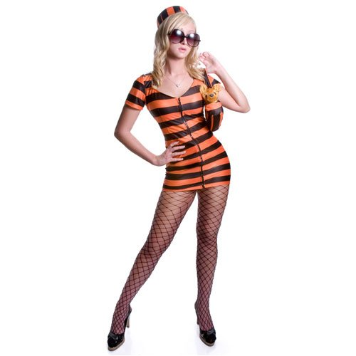 Adult Sexy Prisoner Costume Set - Orange Stripes - Super Low Closeout Price