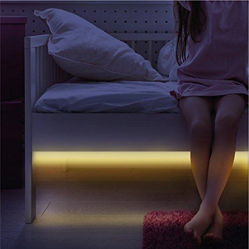 Sensori Di Movimento Kit Luce Notturna - LED Striscia Di Luci Led - 1 M - Illumina La Tua Stanza, La Stanza Dei Bambini, L'armadio, Il Bagno, La Toeletta - Spegnimento Automatico - Decorazione Calda E Morbida & Luce Durante La Notte