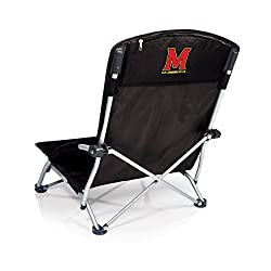 NCAA Maryland Terrapins Tranquility Portable Folding Beach Chair, Black