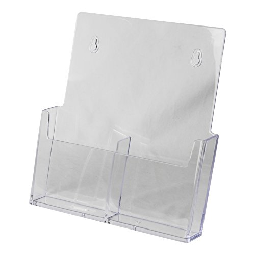 Clear-Ad - LHW-M131 - Acrylic Wall Mount Trifold 2-Tier Brochure Holder 4 x 9 (Pack of 4) (Deluxe Coupon Organizer Ii compare prices)