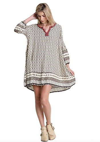 Umgee USA Women's Mixed Print Babydoll Tunic Dress Charcoal/Mocha (Large)