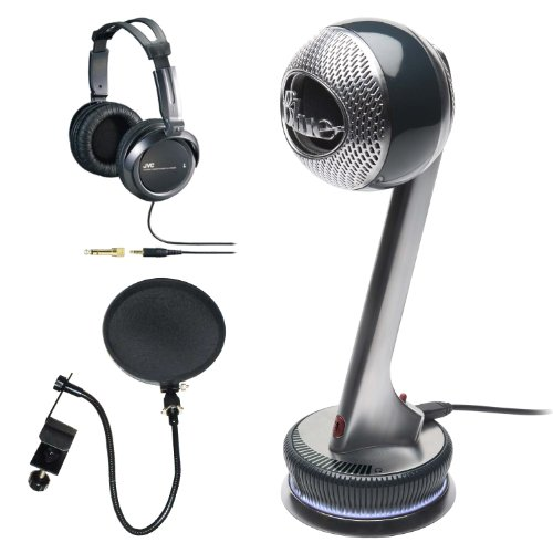 Blue Microphones NESSIE Adaptive USB Condenser Microphone, Cardioid with Full Size Studio Headphones and Microphone Pop Filter
