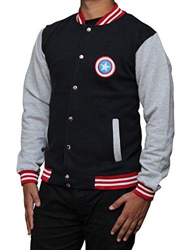 Decrum Captain America Navy Blue And Grey Letterman Jacket L (Jacket Captain America compare prices)