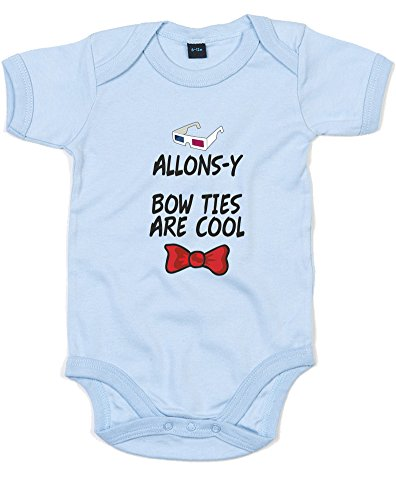 Allons-y Bow Ties Are Cool, Printed Baby Grow - Dusty Blue/Black/Transfer 0-3 Months
