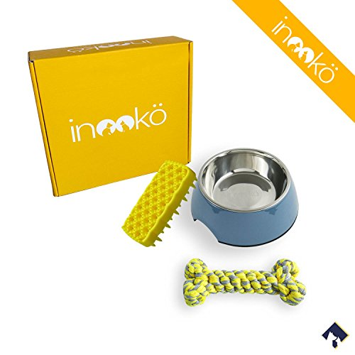 inooko-coffret-bien-etre-2-1-gamelle-en-melamine-bleu-1-brosse-en-silicone-jaune-1-os-en-corde-gris-
