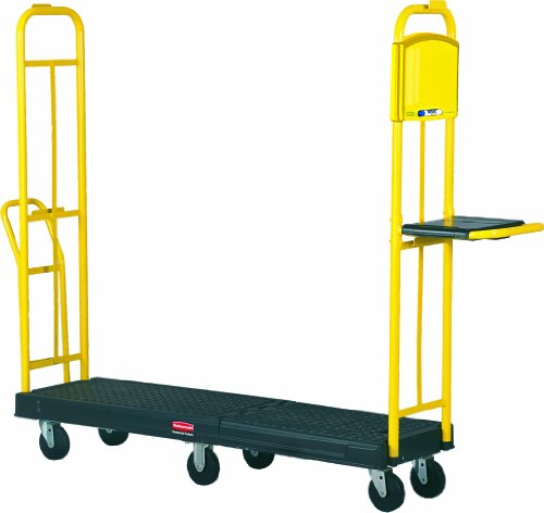 Rubbermaid Commercial FG9T4500 StockMate ES Restocking Platform Truck with Hinging Deck, 1800 lbs Capacity, Black