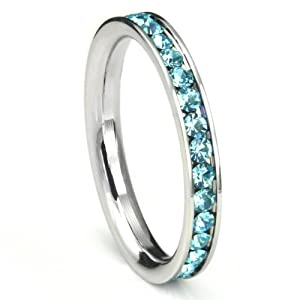 316L Stainless Steel Aquamarine Light Blue Cubic Zirconia CZ Eternity Wedding 3MM Band Ring Sz 8